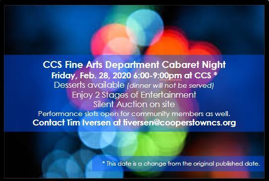 CCS Fine Arts Dept. hosts Cabaret Night - Fri 2/28/2020