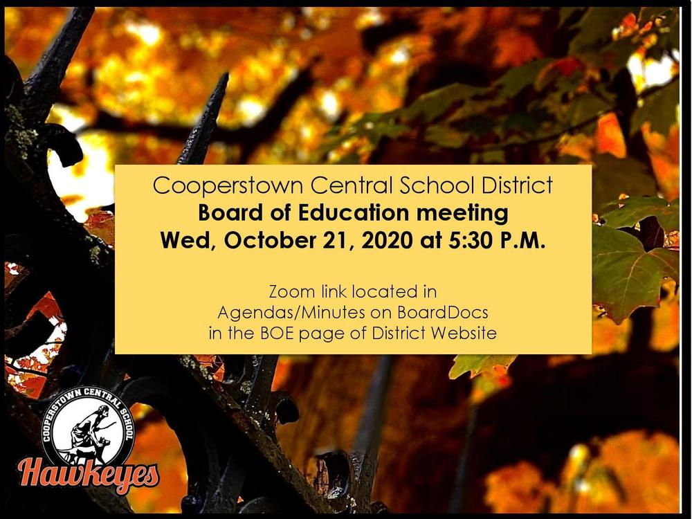 CCS BOE Meeting Scheduled for Wed. Oct. 21, 2020 at 5:30pm