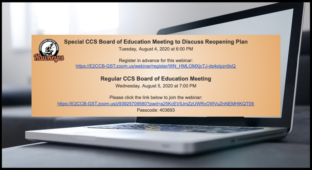 CCS Board of Education Meetings This Week