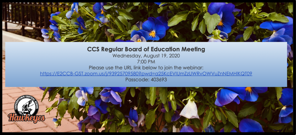 Regular BOE Meeting - Wed. September 2, 2020 7:00 PM