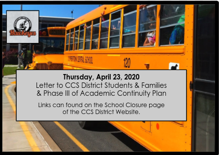 CCS Letter & Phase III Academic Continuity Plan for District Families