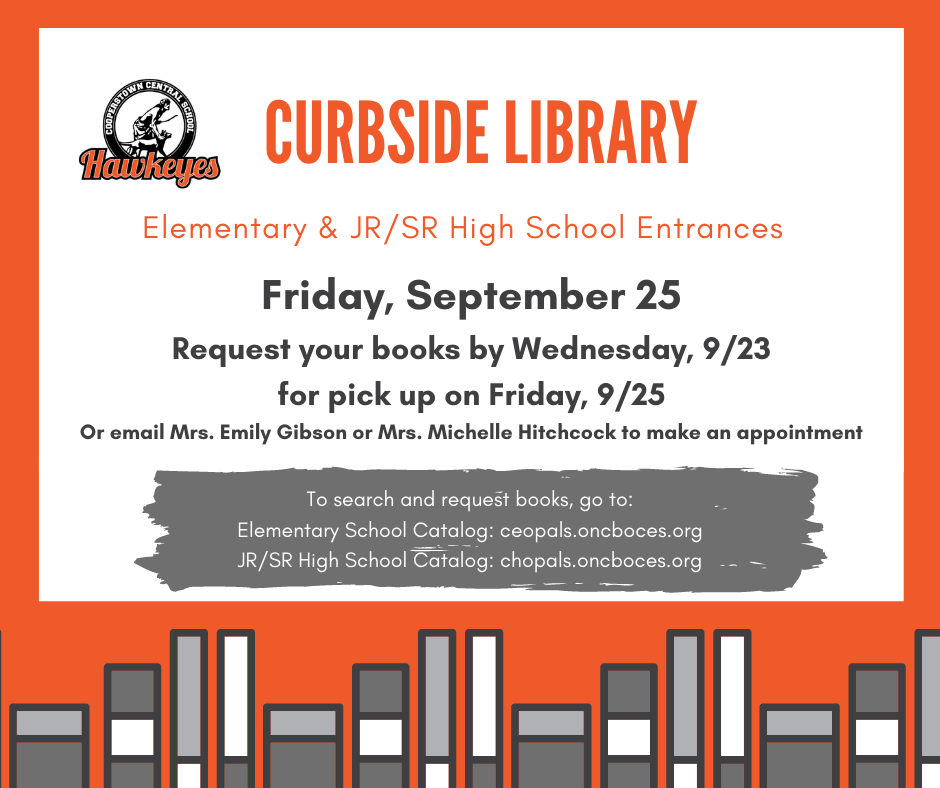 CCS Offers Curbside Libary on Friday, Sept. 25th for K-12 Students
