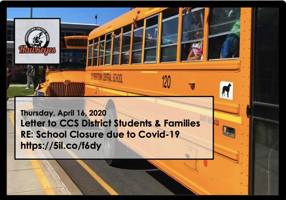 Updated Letter 4/16/2020 Closure due to Covid-19