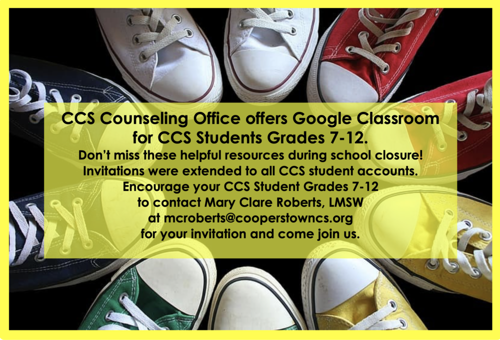 CCS Counseling Starts Google Classroom for Grds 7-12