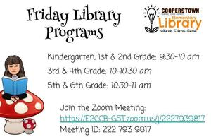 CCS Elementary Offers Friday Library Programs via Zoom