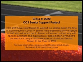 CCS Class of 2020 - Welcome to the Senior Support Project