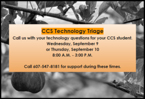 CCS Technology Triage Available Wed. 9/9 & Thur. 9/10