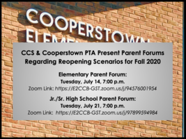CCS & Cooperstown PTA to Host Parent Forums Regarding Reopening in Fall 2020