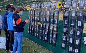 "CCS English Class Visits ""Say Their Name"" Memorial Wall"