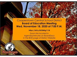 CCS Board of Education Monthly Meeting Wed. 11/18/20 at 7pm