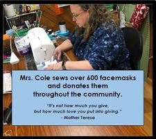 CCS Elementary Teacher Sews Over 600 Facemasks for Donation