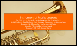 Instrumental Music Lessons Begin for CCS Grades 5-12