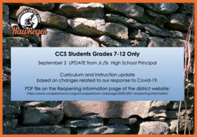 Sept 2 Curriculum & Instruction UPDATE for CCS Grades 7-12