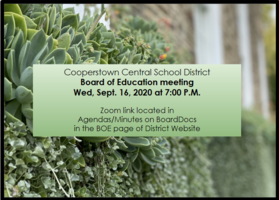 CCS Board of Education Meeting Wed. Sept. 16, 2020 at 7:00 P.M.