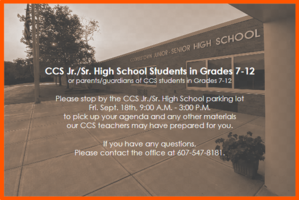CCS Grades 7-12 Materials Pick-Up Friday 9/18