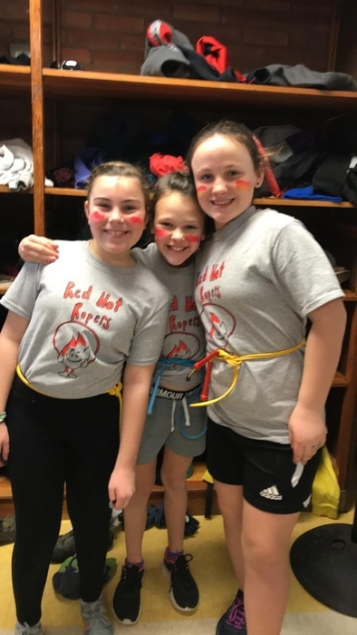 Fifth graders Eva, Ava & Jensen celebrate a great show! @egibson