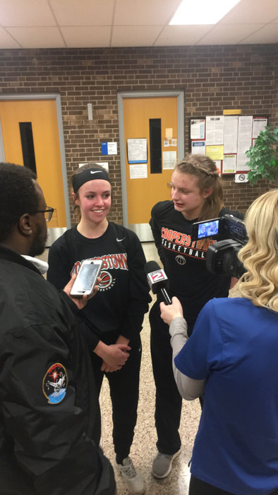 Piper Seamon and Kate Trosset talk to the media