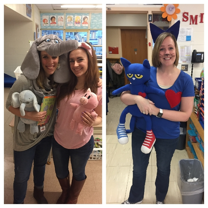 Mrs. Whiteman and Miss Bellcourt to as best friends Elephant and Piggie and Mrs. Hayes as Pete the Cat