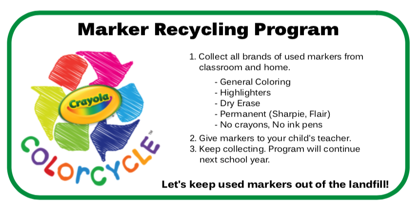 Keep used markers out of the landfill.