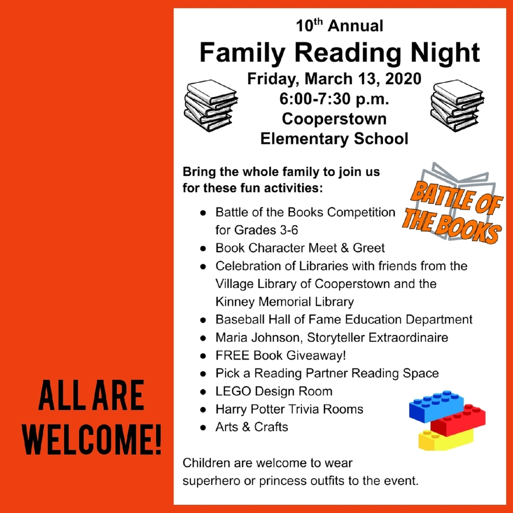 Family Reading Night, THIS Friday, 3/13