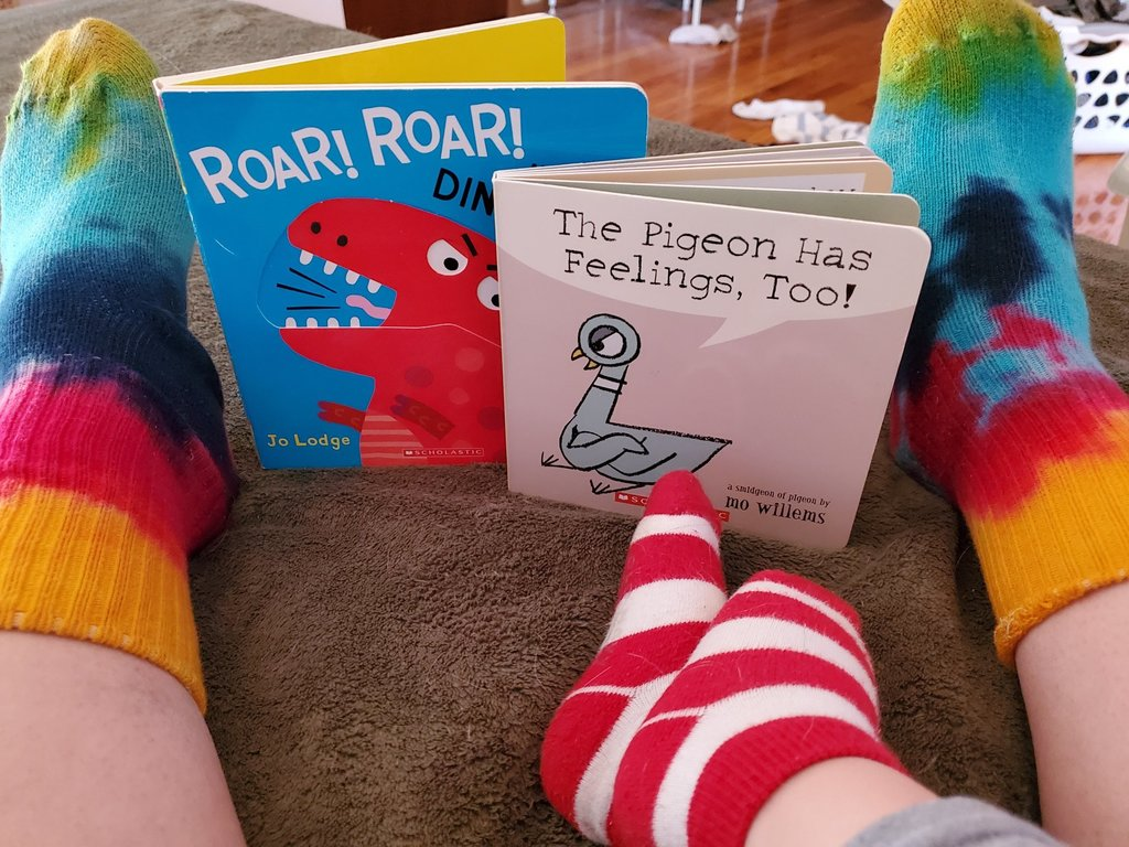 We love Mo Willems' pigeon books in their cozy Dr. Seuss inspired socks.